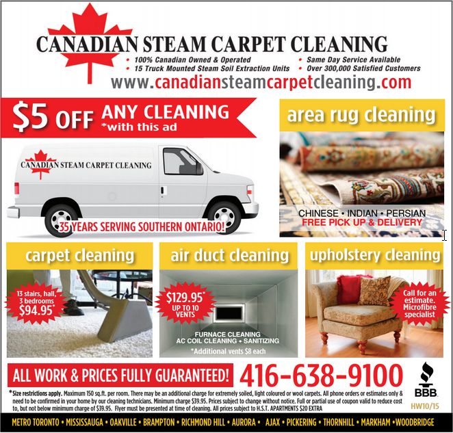 Canadian Steam Carpet Cleaning 2015 Coupon